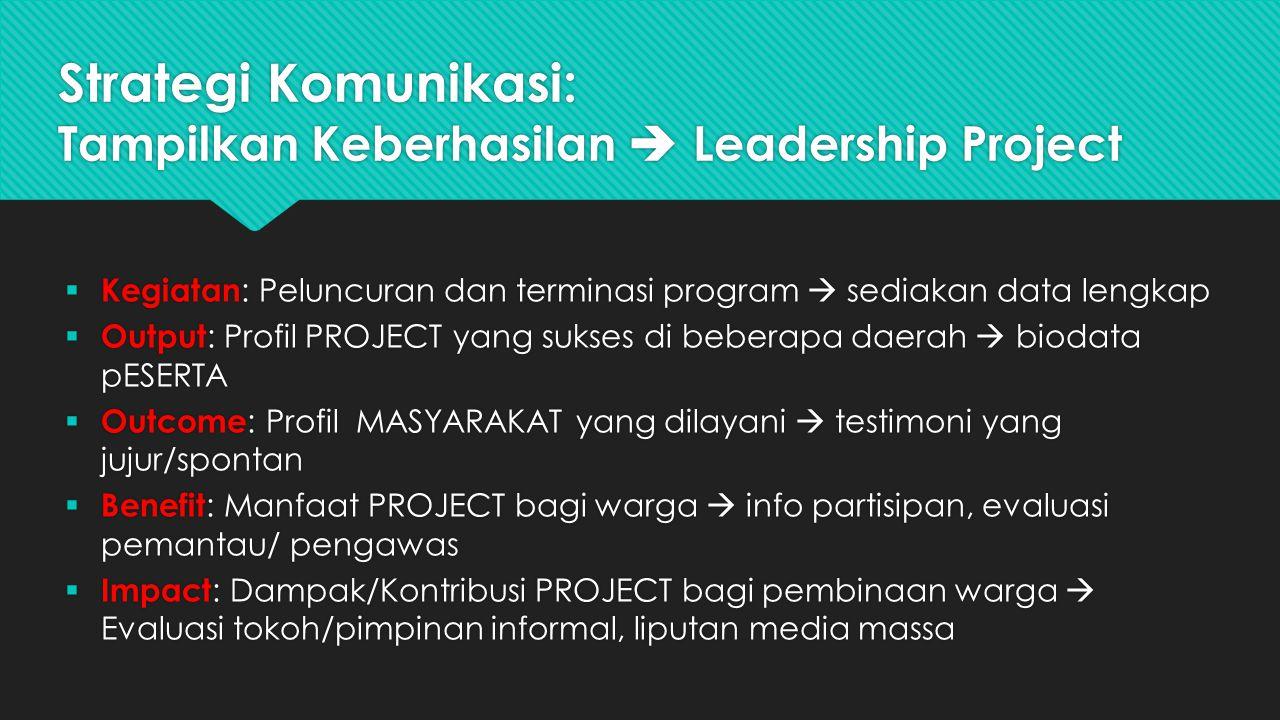 Strategi Komunikasi: Tampilkan Keberhasilan  Leadership Project