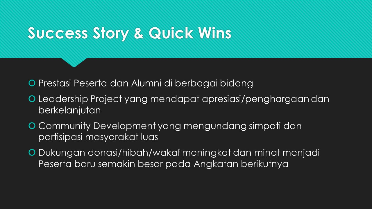 Success Story & Quick Wins
