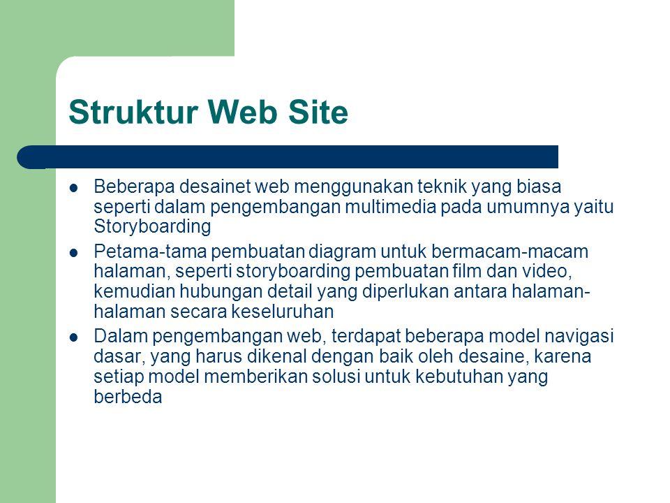 Struktur Web Site Beberapa desainet web menggunakan teknik yang biasa seperti dalam pengembangan multimedia pada umumnya yaitu Storyboarding.