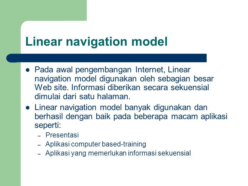 Linear navigation model