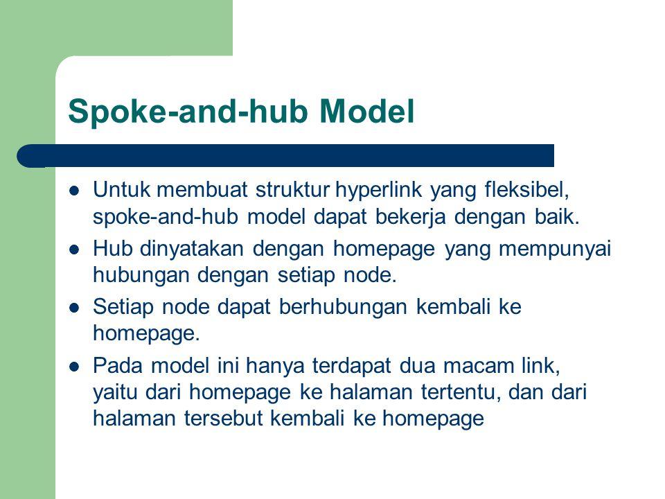 Spoke-and-hub Model Untuk membuat struktur hyperlink yang fleksibel, spoke-and-hub model dapat bekerja dengan baik.