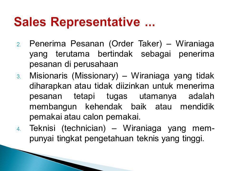 Sales Representative ... Penerima Pesanan (Order Taker) – Wiraniaga yang terutama bertindak sebagai penerima pesanan di perusahaan.