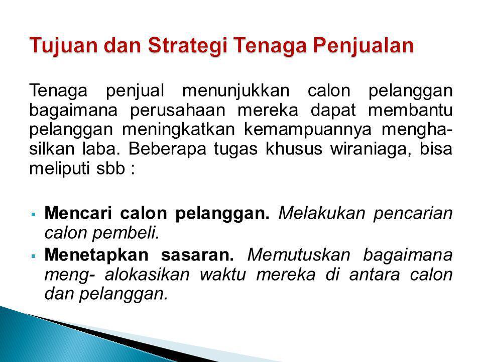 Tujuan dan Strategi Tenaga Penjualan
