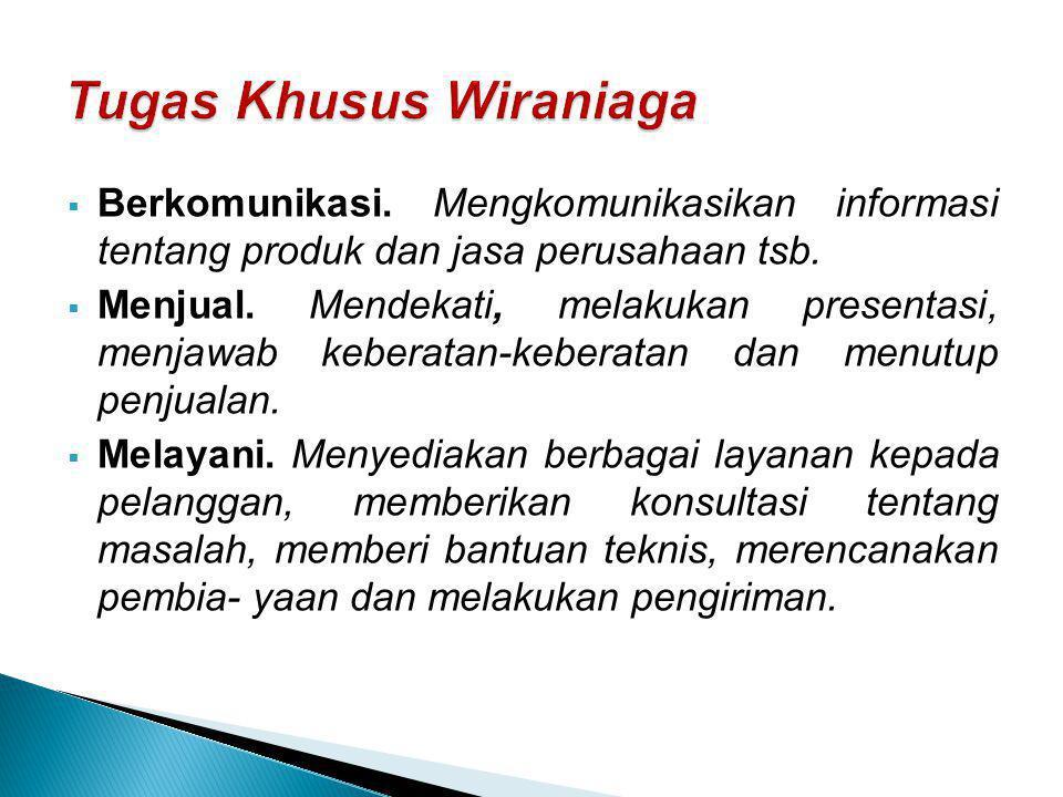 Tugas Khusus Wiraniaga