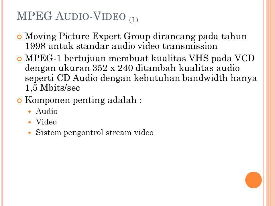 MPEG Audio-Video (1) Moving Picture Expert Group dirancang pada tahun 1998 untuk standar audio video transmission.