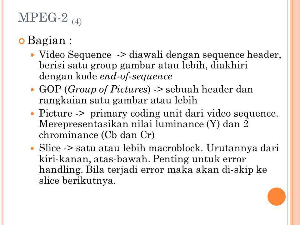 MPEG-2 (4) Bagian : Video Sequence -> diawali dengan sequence header, berisi satu group gambar atau lebih, diakhiri dengan kode end-of-sequence.