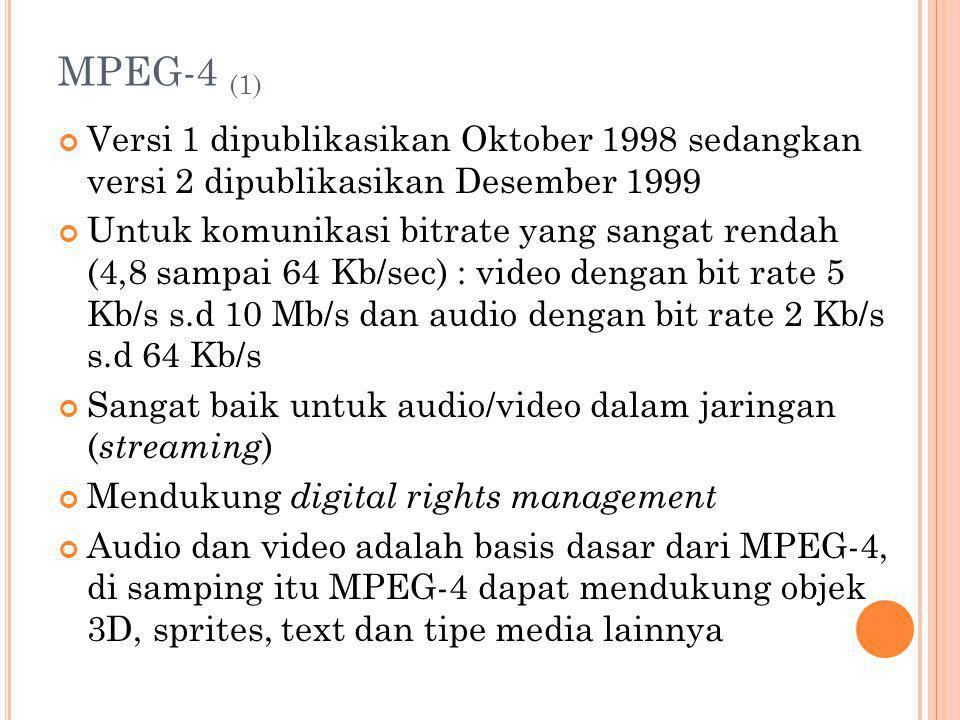 MPEG-4 (1) Versi 1 dipublikasikan Oktober 1998 sedangkan versi 2 dipublikasikan Desember 1999.