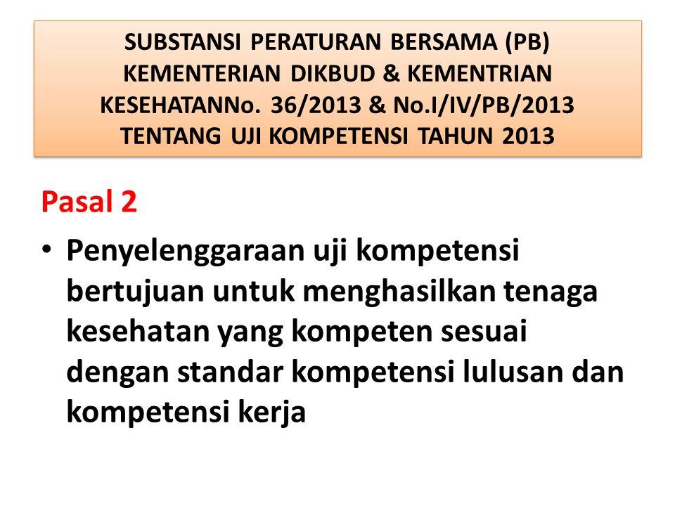 SUBSTANSI PERATURAN BERSAMA (PB) KEMENTERIAN DIKBUD & KEMENTRIAN KESEHATANNo. 36/2013 & No.I/IV/PB/2013 TENTANG UJI KOMPETENSI TAHUN 2013