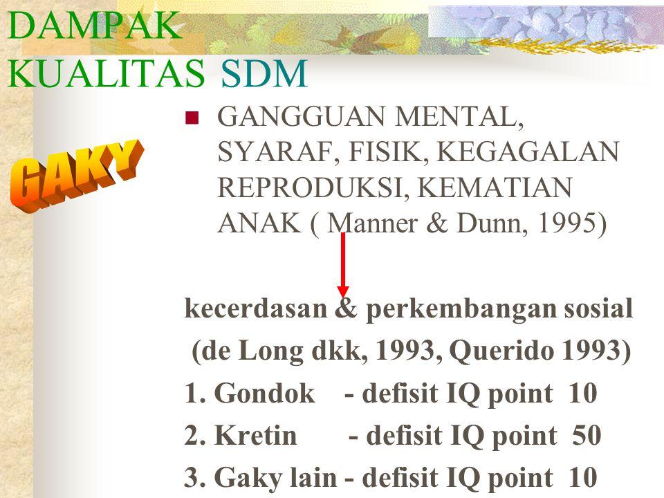 DAMPAK KUALITAS SDM GANGGUAN MENTAL, SYARAF, FISIK, KEGAGALAN REPRODUKSI, KEMATIAN ANAK ( Manner & Dunn, 1995)