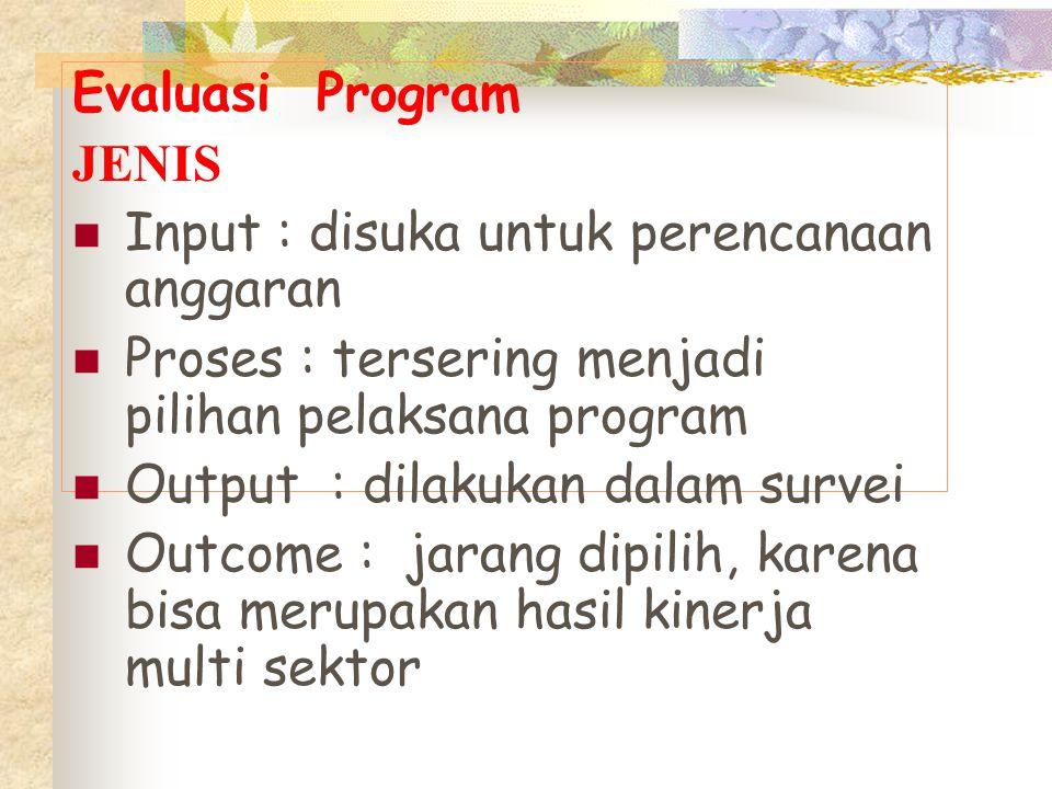 Evaluasi Program JENIS. Input : disuka untuk perencanaan anggaran. Proses : tersering menjadi pilihan pelaksana program.