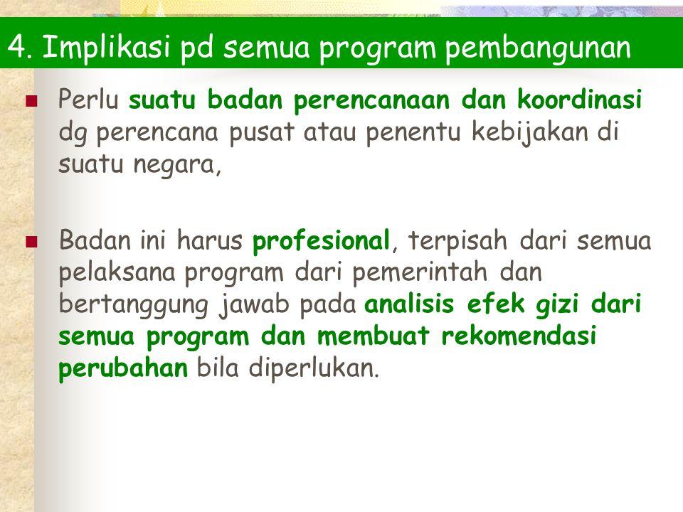 4. Implikasi pd semua program pembangunan