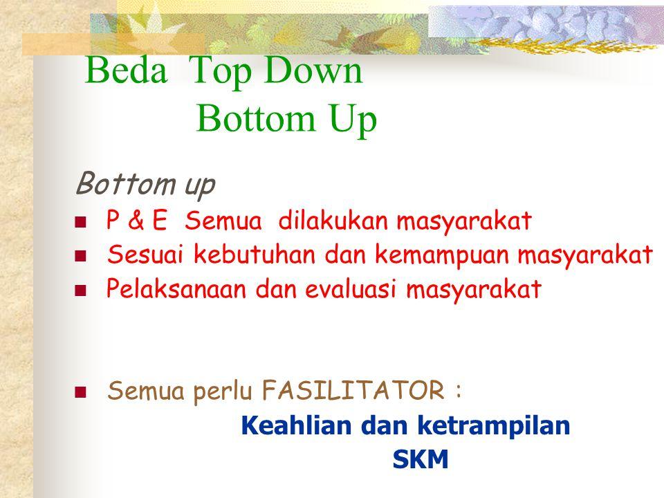 Beda Top Down Bottom Up Bottom up P & E Semua dilakukan masyarakat