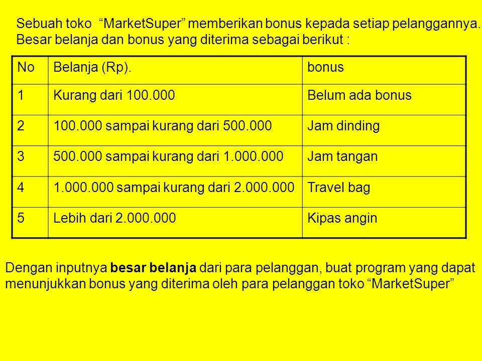 Sebuah toko MarketSuper memberikan bonus kepada setiap pelanggannya.
