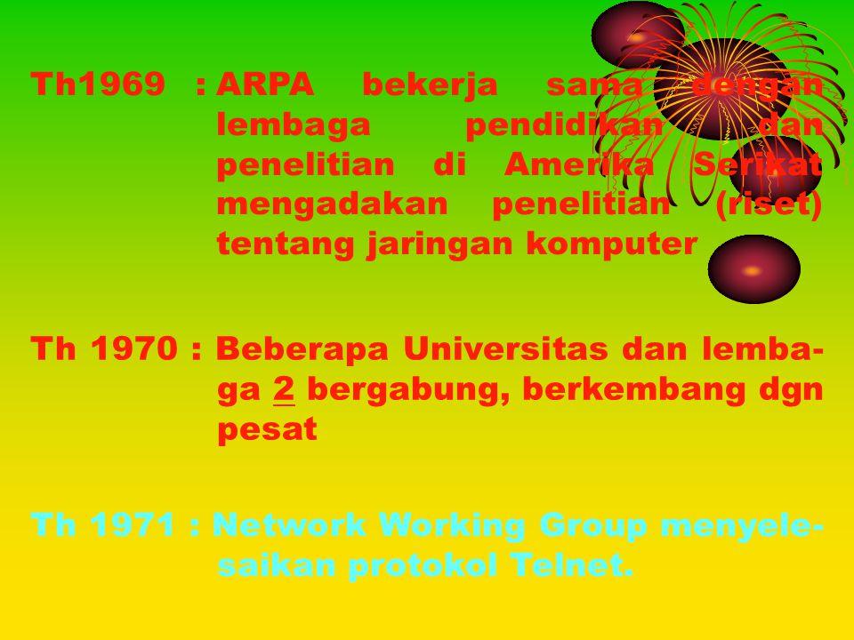 Th1969 : ARPA bekerja sama dengan lembaga pendidikan dan penelitian di Amerika Serikat mengadakan penelitian (riset) tentang jaringan komputer