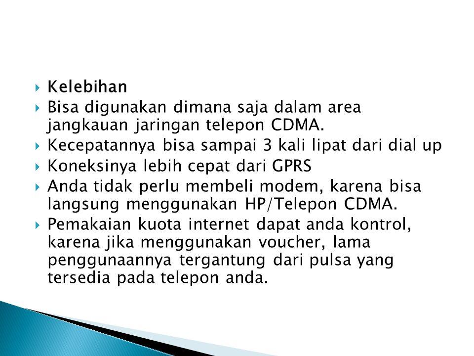 Kelebihan Bisa digunakan dimana saja dalam area jangkauan jaringan telepon CDMA. Kecepatannya bisa sampai 3 kali lipat dari dial up.
