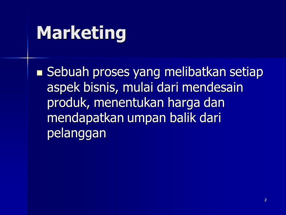 Marketing Sebuah proses yang melibatkan setiap aspek bisnis, mulai dari mendesain produk, menentukan harga dan mendapatkan umpan balik dari pelanggan.