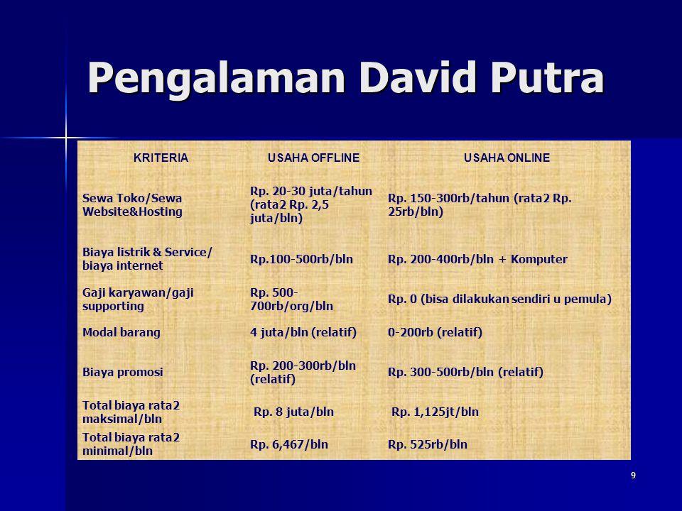 Pengalaman David Putra
