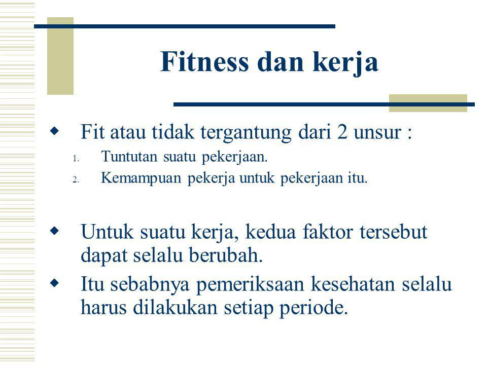 Fitness dan kerja Fit atau tidak tergantung dari 2 unsur :