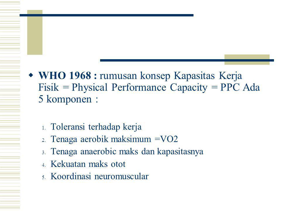 WHO 1968 : rumusan konsep Kapasitas Kerja Fisik = Physical Performance Capacity = PPC Ada 5 komponen :