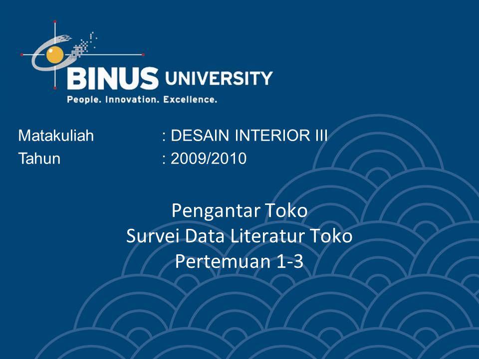 Pengantar Toko Survei Data Literatur Toko Pertemuan 1-3