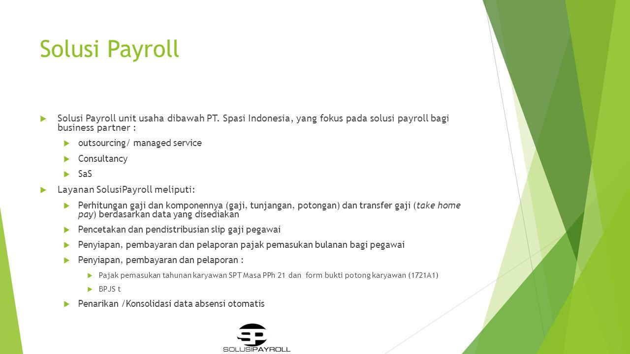 Solusi Payroll Solusi Payroll unit usaha dibawah PT. Spasi Indonesia, yang fokus pada solusi payroll bagi business partner :