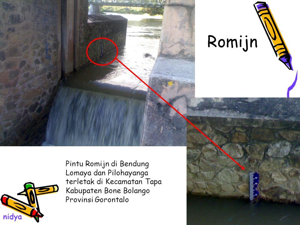 Romijn Pintu Romijn di Bendung Lomaya dan Pilohayanga terletak di Kecamatan Tapa Kabupaten Bone Bolango Provinsi Gorontalo.