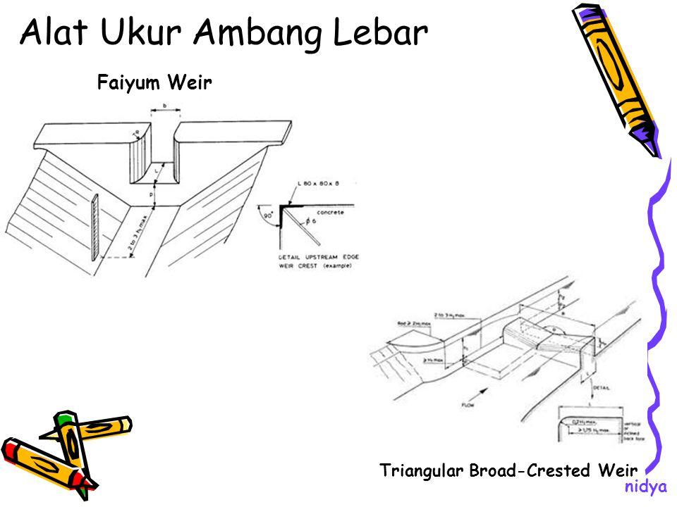 Alat Ukur Ambang Lebar Faiyum Weir Triangular Broad-Crested Weir nidya
