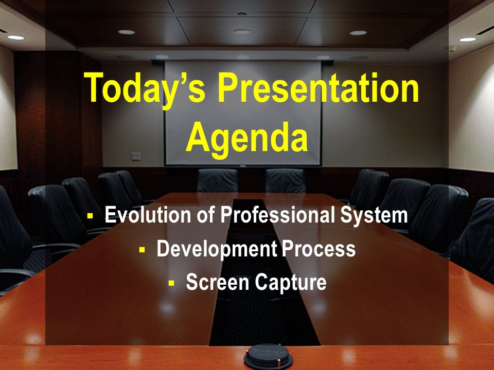 Today's Presentation Agenda