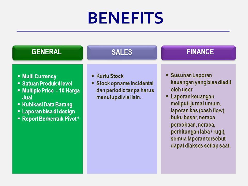 BENEFITS GENERAL SALES FINANCE Multi Currency Kartu Stock