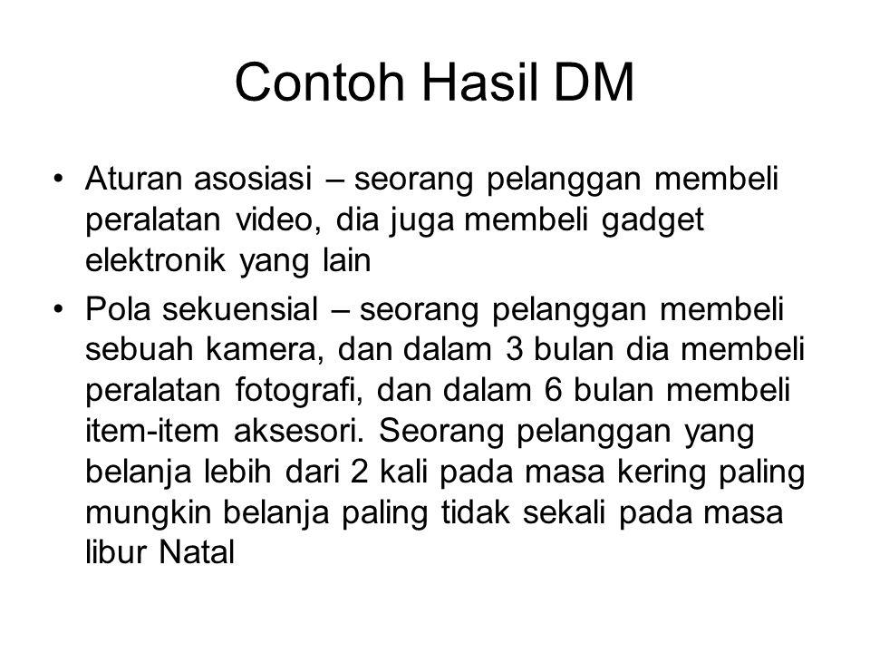 Contoh Hasil DM Aturan asosiasi – seorang pelanggan membeli peralatan video, dia juga membeli gadget elektronik yang lain.