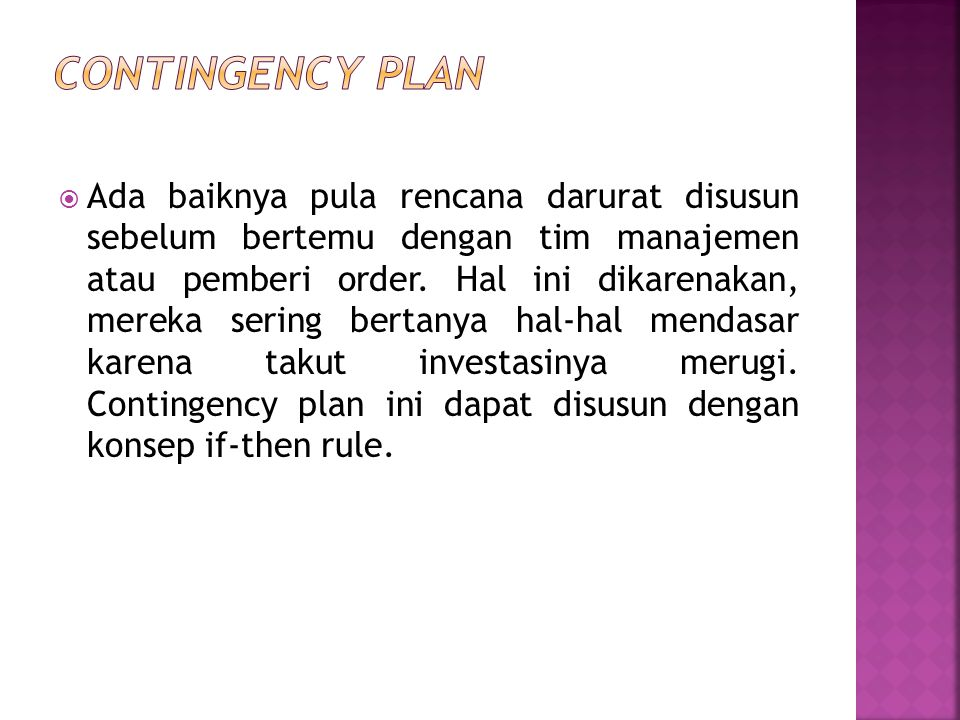 Contingency plan