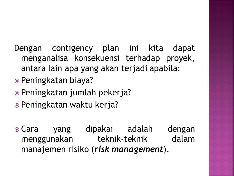 Dengan contigency plan ini kita dapat menganalisa konsekuensi terhadap proyek, antara lain apa yang akan terjadi apabila: