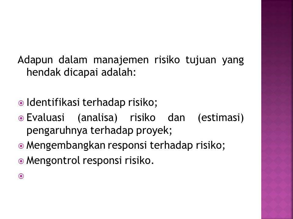 Adapun dalam manajemen risiko tujuan yang hendak dicapai adalah: