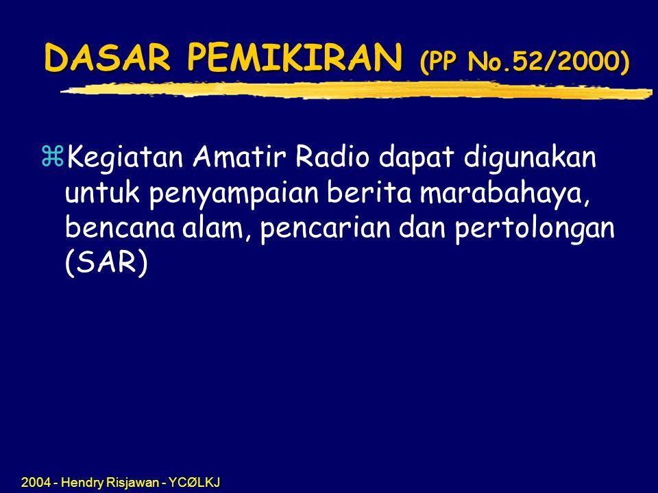 DASAR PEMIKIRAN (PP No.52/2000)