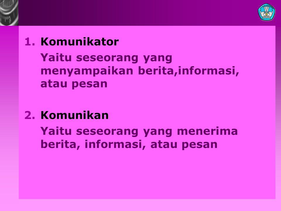 Komunikator Yaitu seseorang yang menyampaikan berita,informasi, atau pesan.