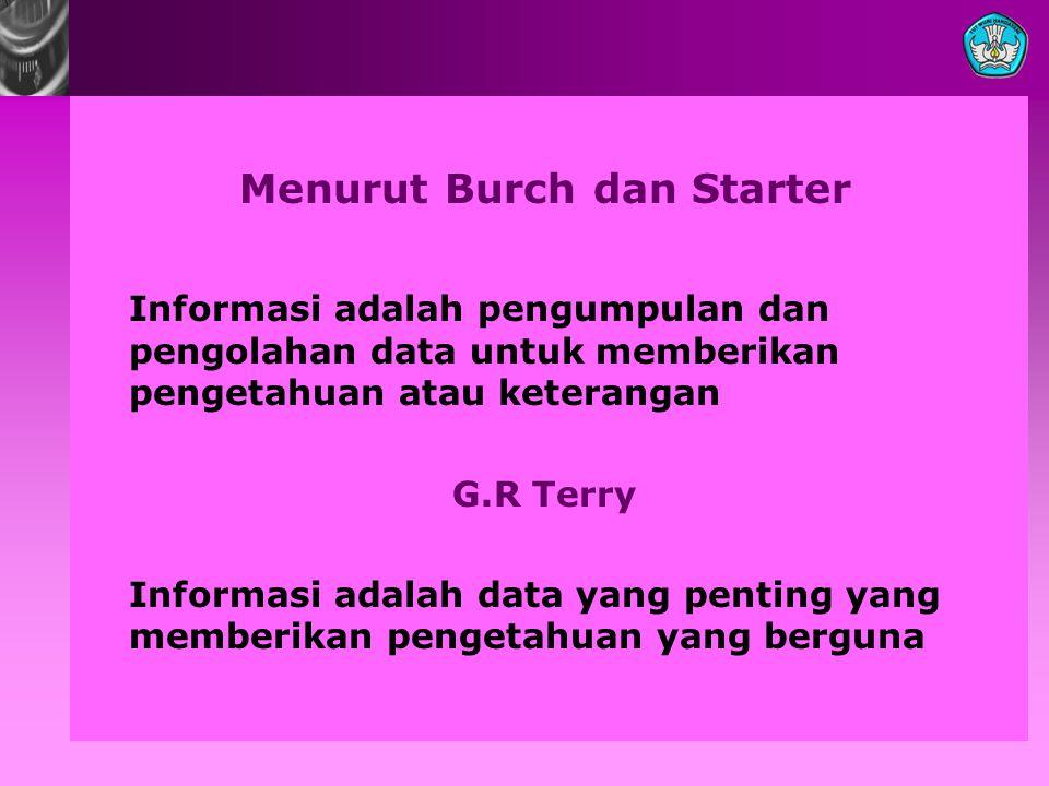 Menurut Burch dan Starter