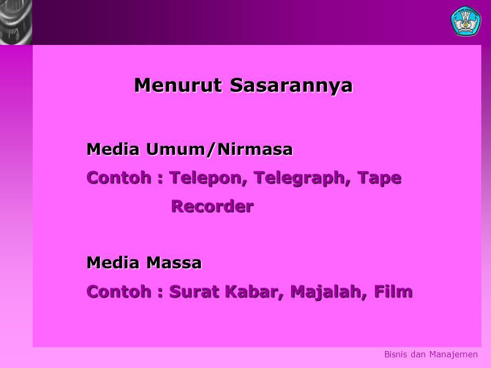 Menurut Sasarannya Media Umum/Nirmasa