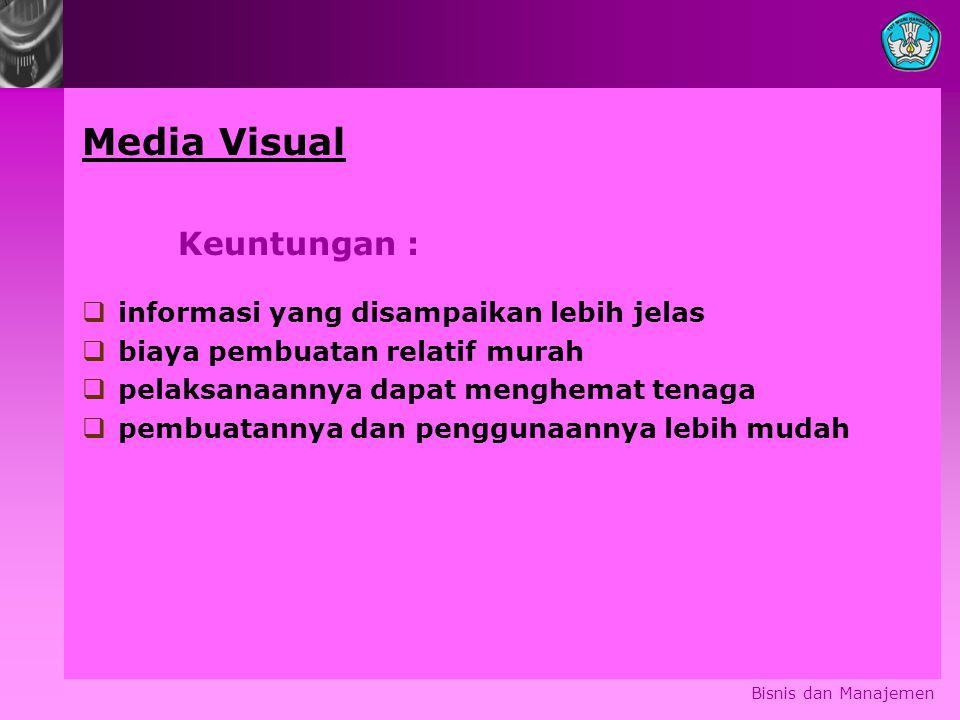 Media Visual Keuntungan : informasi yang disampaikan lebih jelas