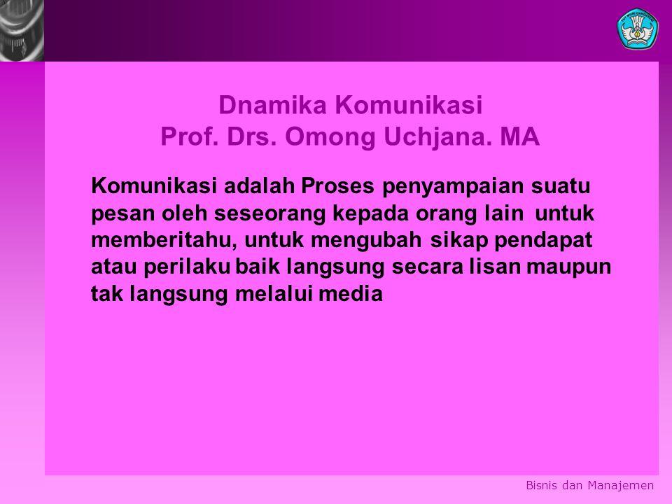 Dnamika Komunikasi Prof. Drs. Omong Uchjana. MA