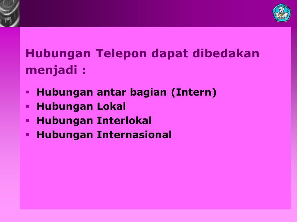 Hubungan Telepon dapat dibedakan menjadi :