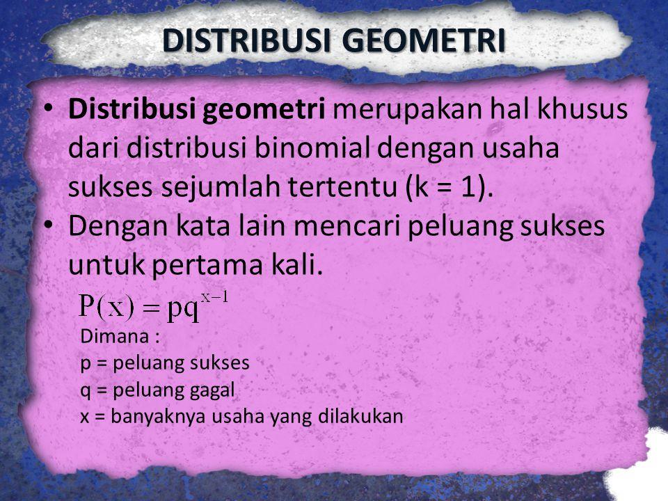 DISTRIBUSI GEOMETRI Distribusi geometri merupakan hal khusus dari distribusi binomial dengan usaha sukses sejumlah tertentu (k = 1).