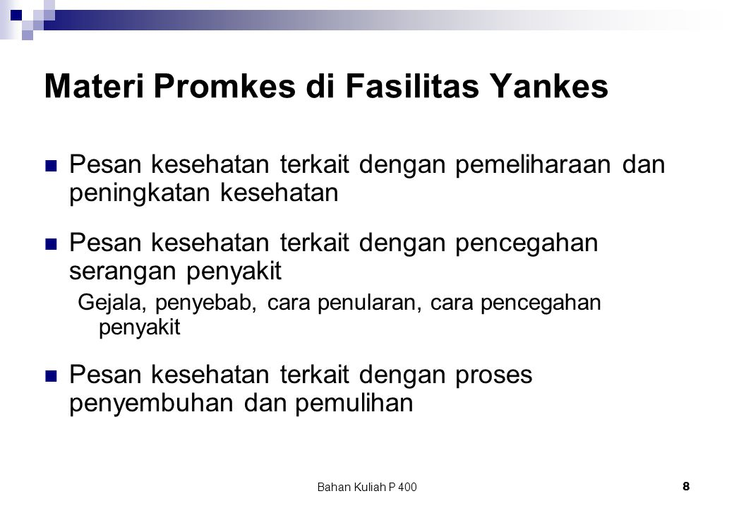 Materi Promkes di Fasilitas Yankes