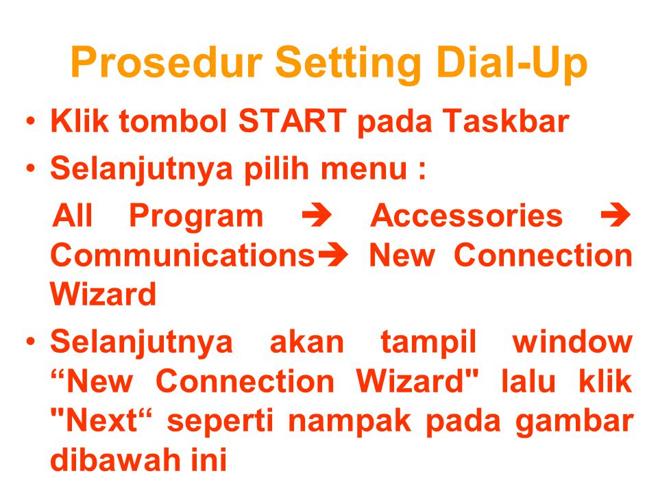 Prosedur Setting Dial-Up