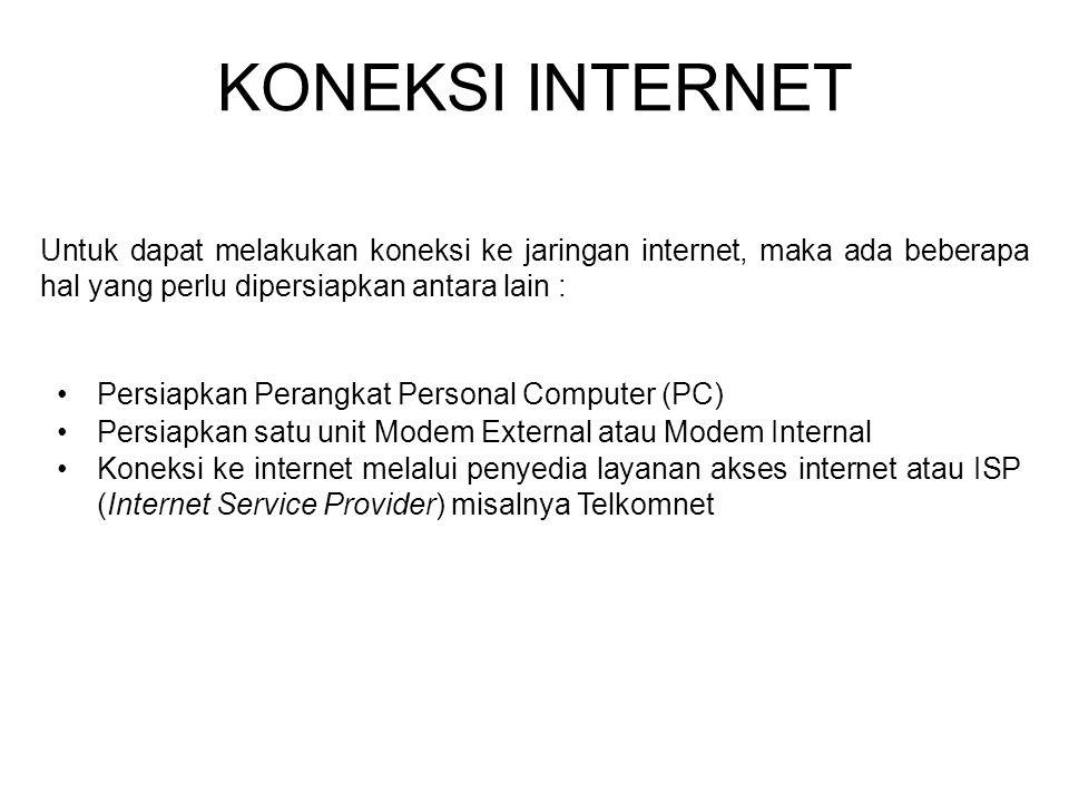 KONEKSI INTERNET Untuk dapat melakukan koneksi ke jaringan internet, maka ada beberapa hal yang perlu dipersiapkan antara lain :