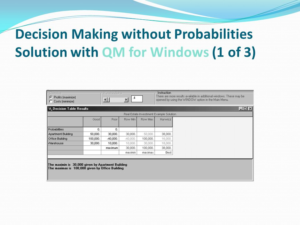 Decision Making without Probabilities Solution with QM for Windows (1 of 3)