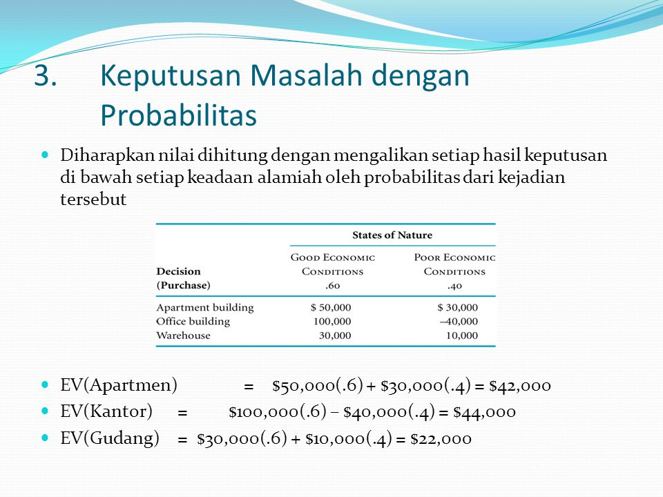 3. Keputusan Masalah dengan Probabilitas