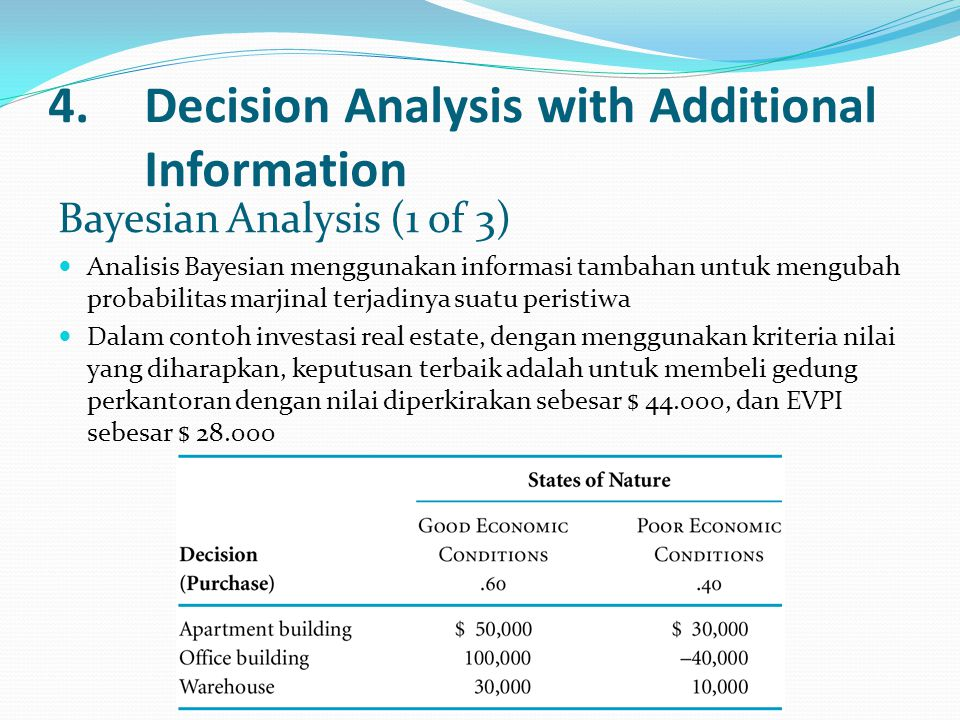 4. Decision Analysis with Additional Information
