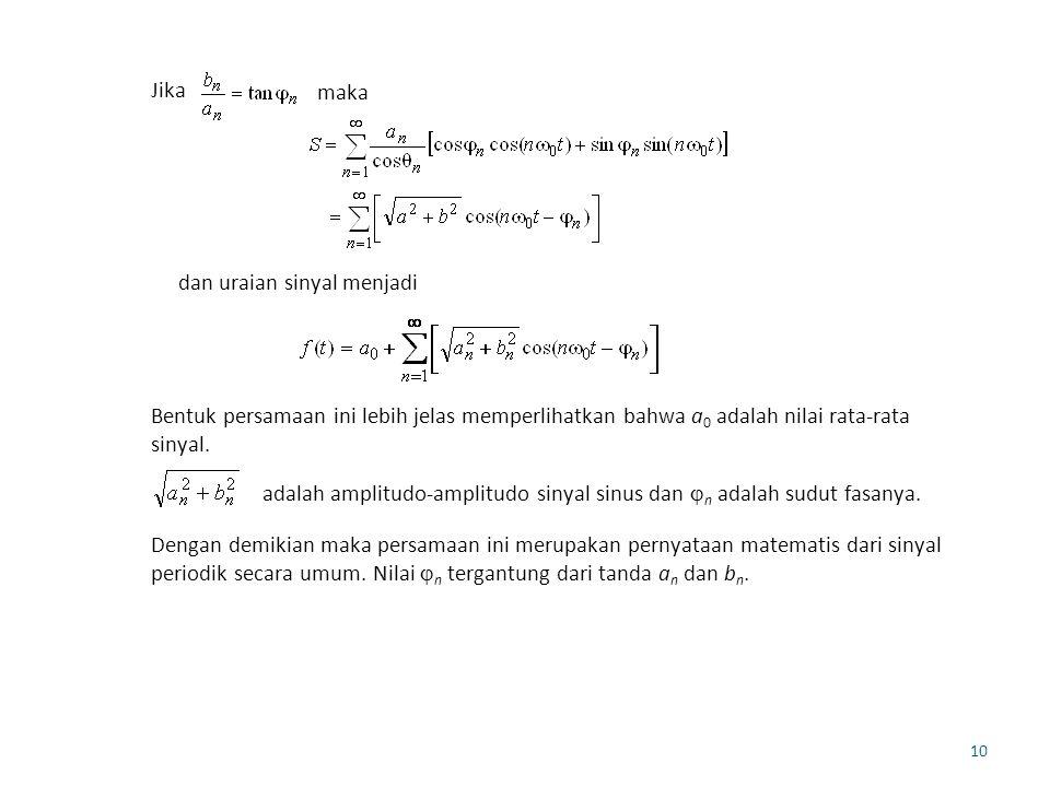 Jika maka. dan uraian sinyal menjadi. Bentuk persamaan ini lebih jelas memperlihatkan bahwa a0 adalah nilai rata-rata sinyal.