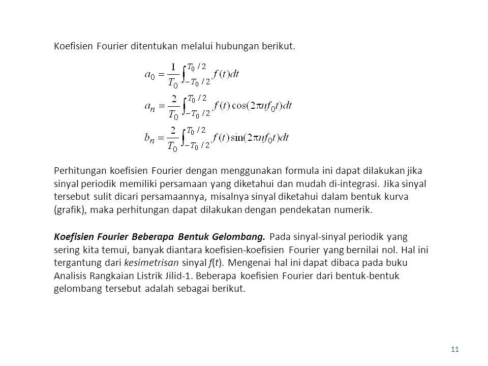 Koefisien Fourier ditentukan melalui hubungan berikut.