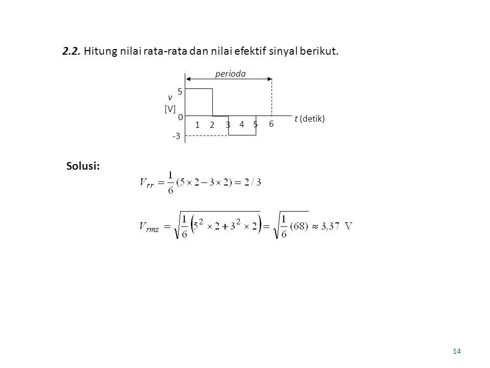 2.2. Hitung nilai rata-rata dan nilai efektif sinyal berikut.